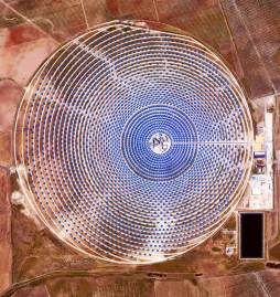 Aerial view of solar station Gemasolar Power Plant near Seville, Spain.
