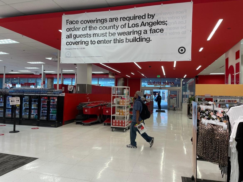 Sign inside Target stating masks must be worn