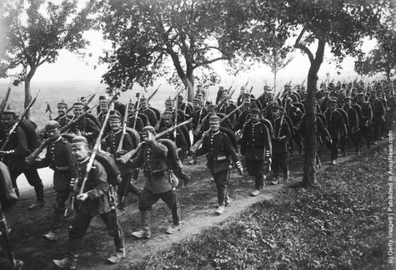 German infantry on manoeuvres in preparation for war.
