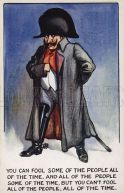 WW1 cartoon propaganda postcard of Kaiser Wilhelm II disguised as Napoleon