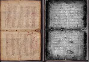 Archimedes Palimpsest bifolio : Under normal light compared to UV illumination processed using principal component analysis to reveal the undertext