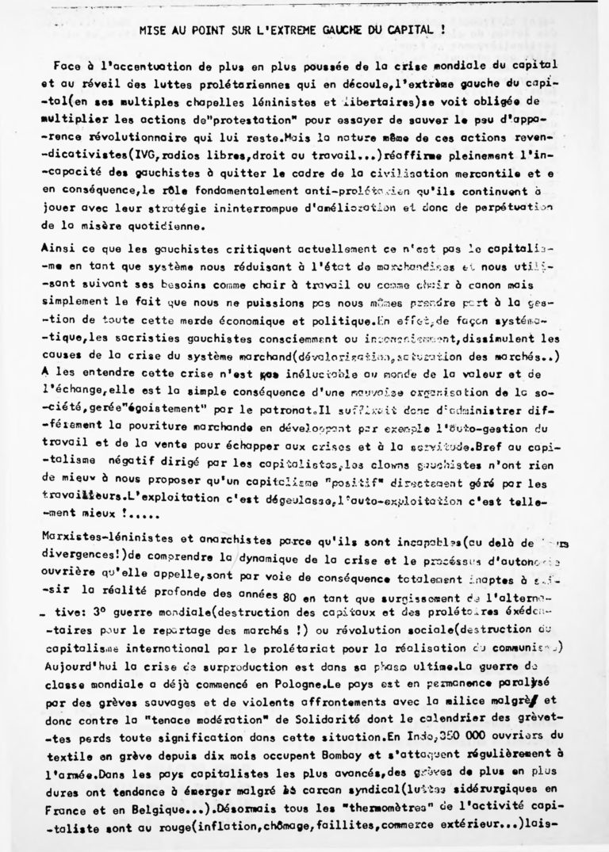 Mise en ligne des tracts des années 80 du groupe Guerre de Classe