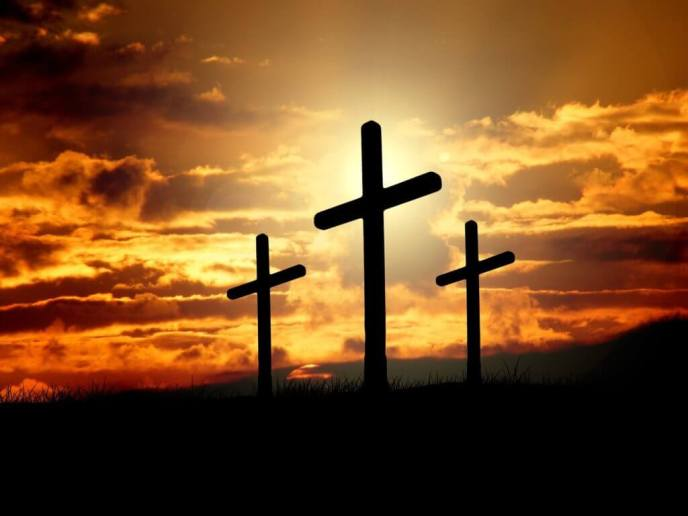 Sunset and Three Crosses