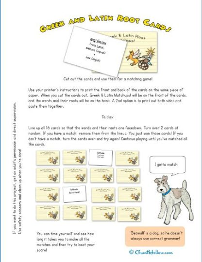 Greek and Latin Roots Memory Game / Seasons Vocabulary
