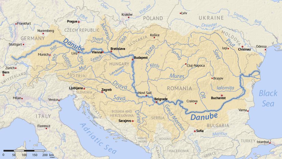 The Danube flows through 10 European countries.