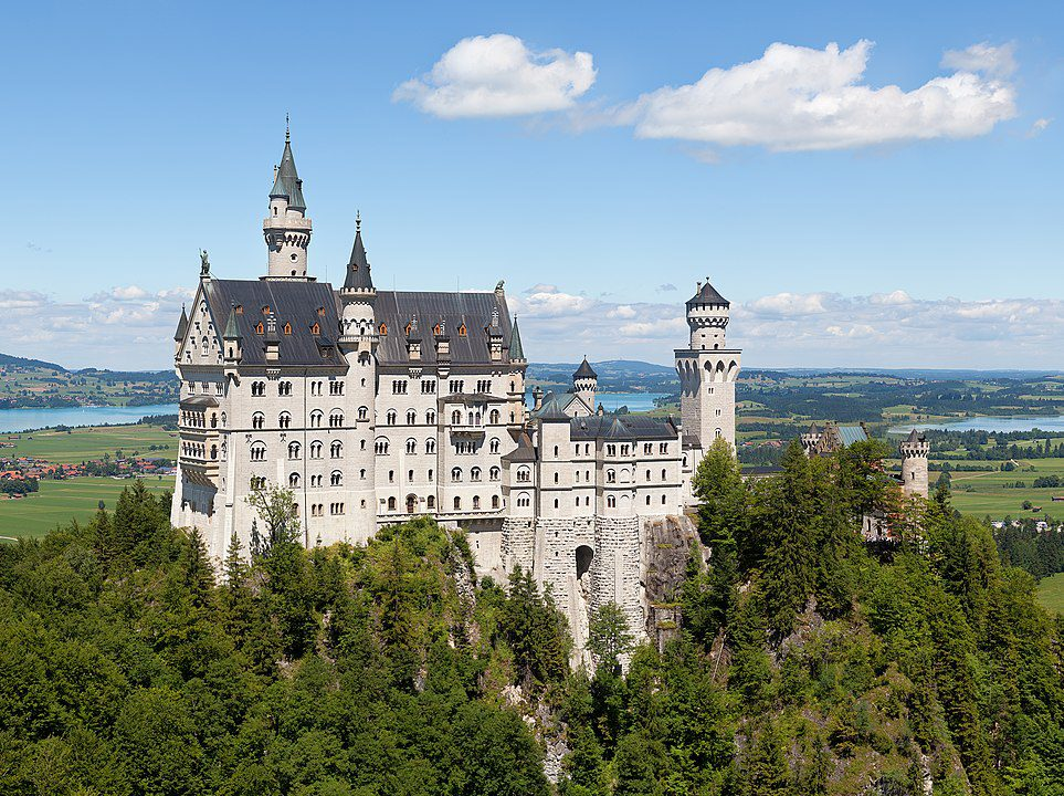 Neuschwanstein Castle is a 19th-century palace in Bavaria, Germany.