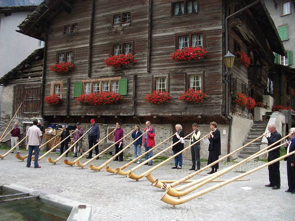 Alphorn players in Switzerland