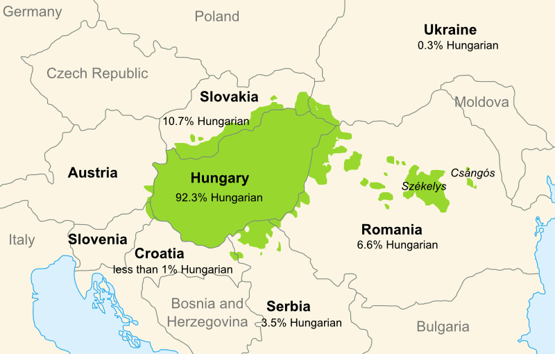 Present-day regions in Europe where Hungarian is the majority language