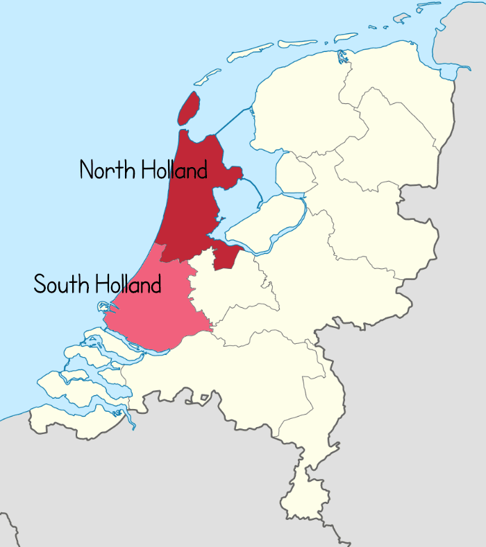North and South Holland are provinces of the Netherlands.