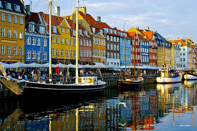 A Copenhagen waterfront lined by colorful houses