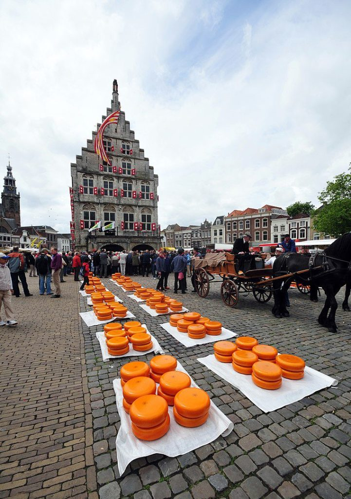 Cheese market in Gouda, cheese and a brig with Friesian horses for transporting the cheese