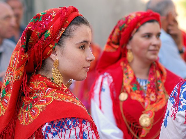 Portugal has areas that have their own traditional clothes, such as these women from Minho.