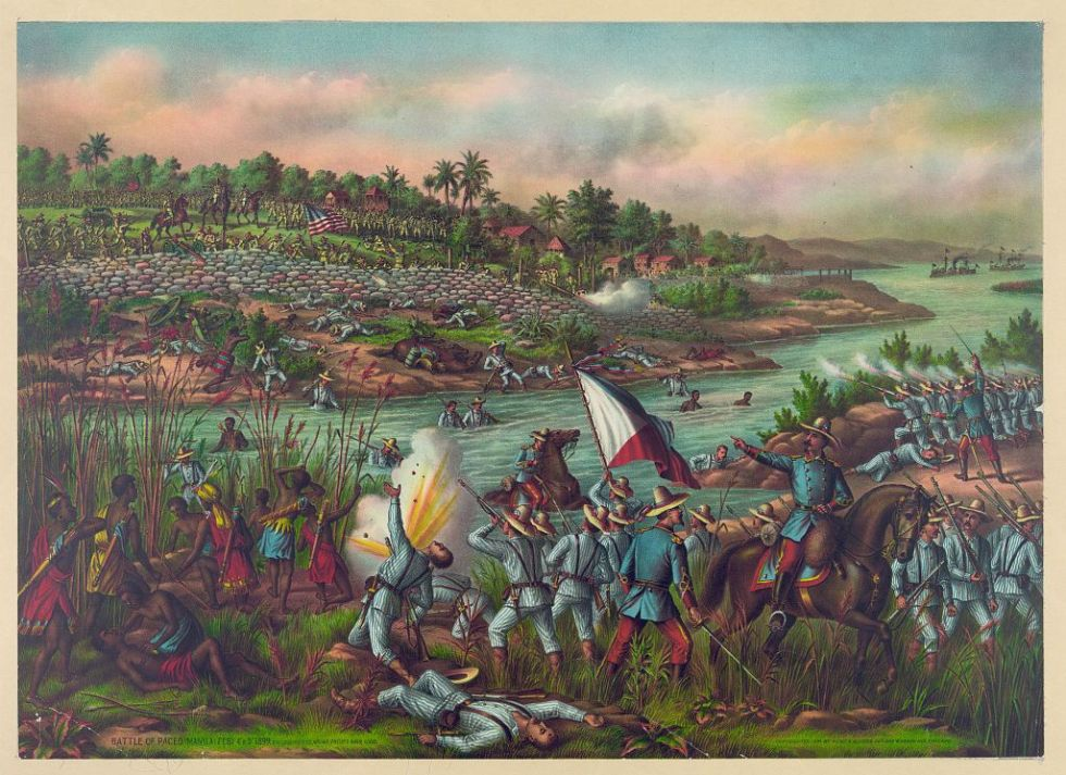 A depiction of the Battle of Paceo during the Philippine–American War.