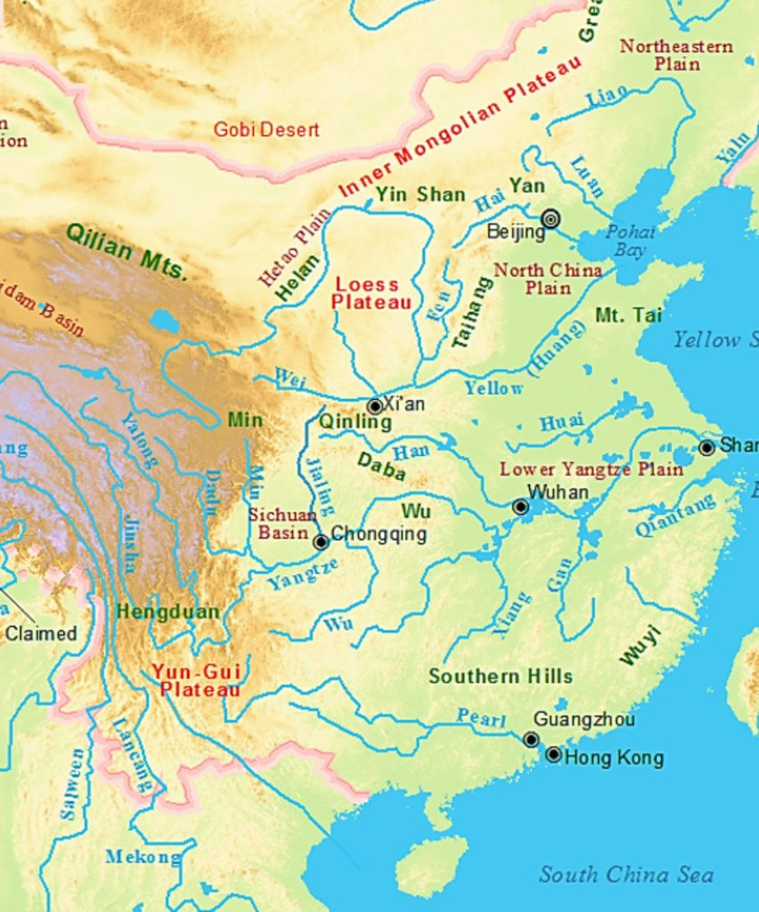 Notice how the North China Plain is at the mount of the Yellow River