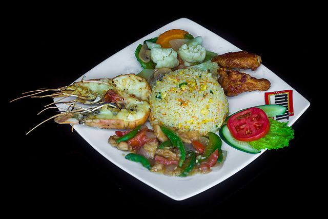 Restaurant Meal: Fried Rice, Prawn Fry, Beef Curry and Chicken Wings