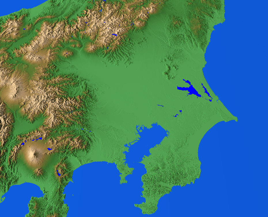 Map of Kantō Plain; Tokyo Bay is visible below center of picture