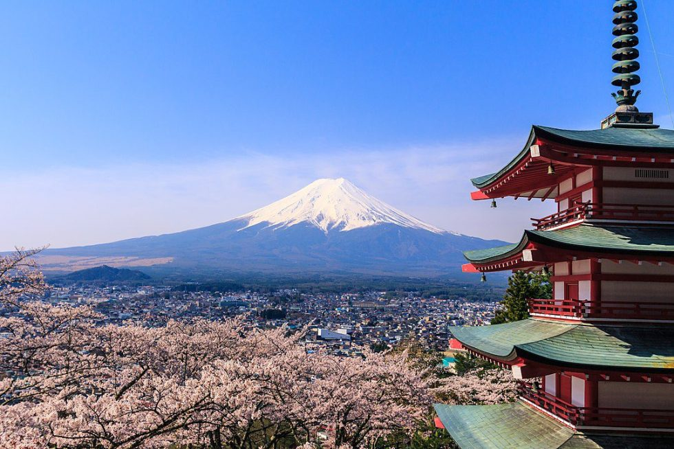 Mount Fuji with cherry blossoms in the Arakurayama Sengen Park, Fujiyoshida, Yamanashi, central Japan