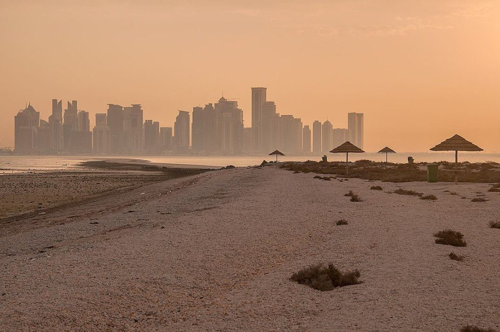 View of West Bay Skyline from Safliya Island near Doha, Qatar