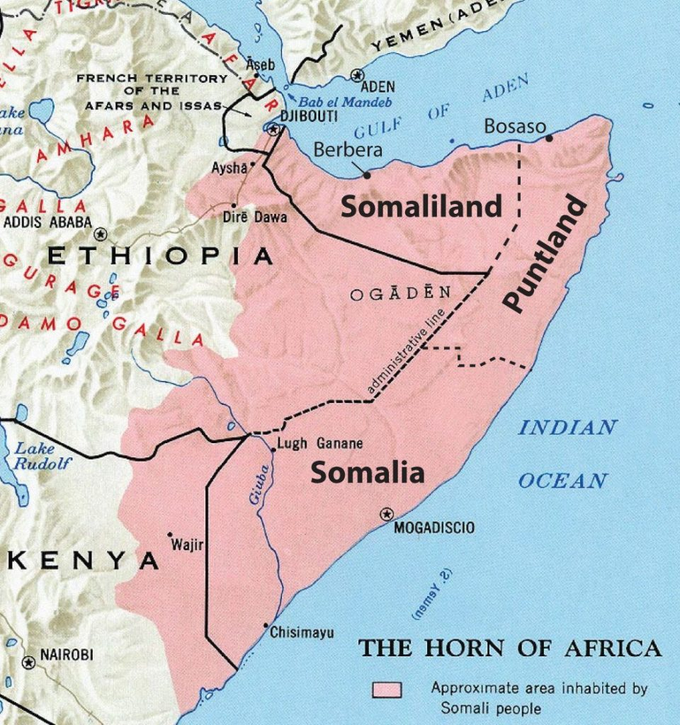 Somalia, with Its Autonomous Regions of Somaliland and Puntland