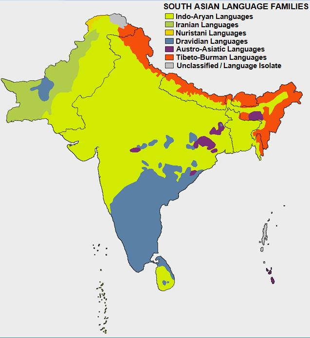 Notice how in the north, India's language is Indo-Aryan. In the south, it's Dravidian.