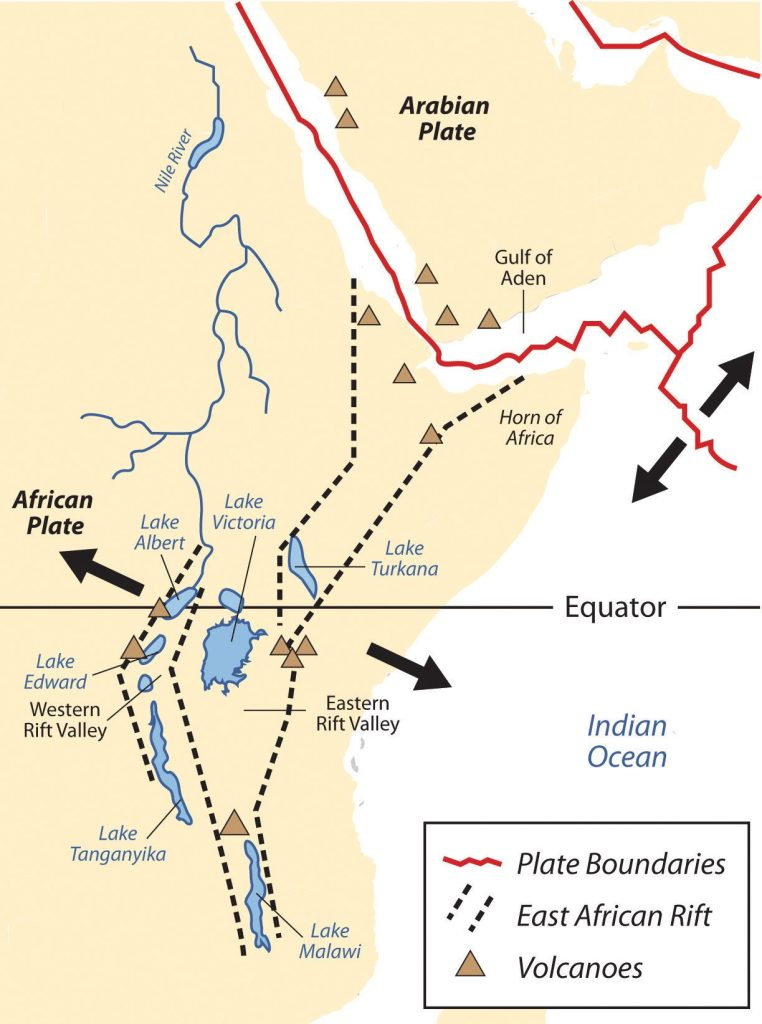 The African portion of the rift extends from Mozambique to the Red Sea. The valley is created by the movement of tectonic plates.