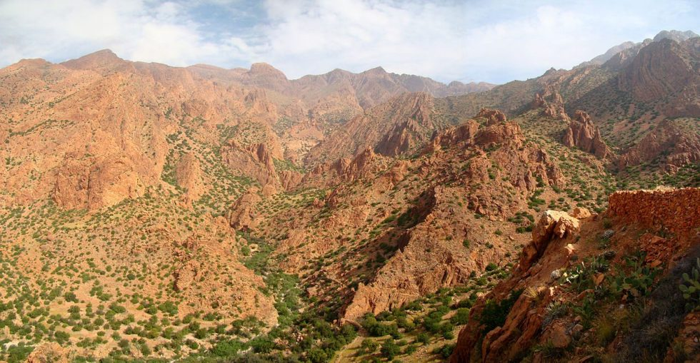 A part of the Anti-Atlas mountains seen from the south, in the Ameln Valley near Tafraout.