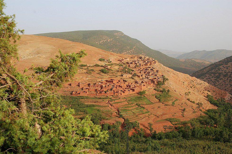 Morroco Berber village in the high Atlas Imlil valley