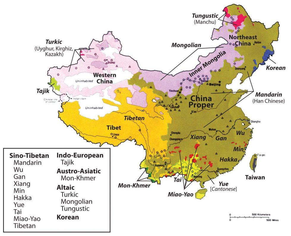 China and Its Main Ethnolinguistic Regions