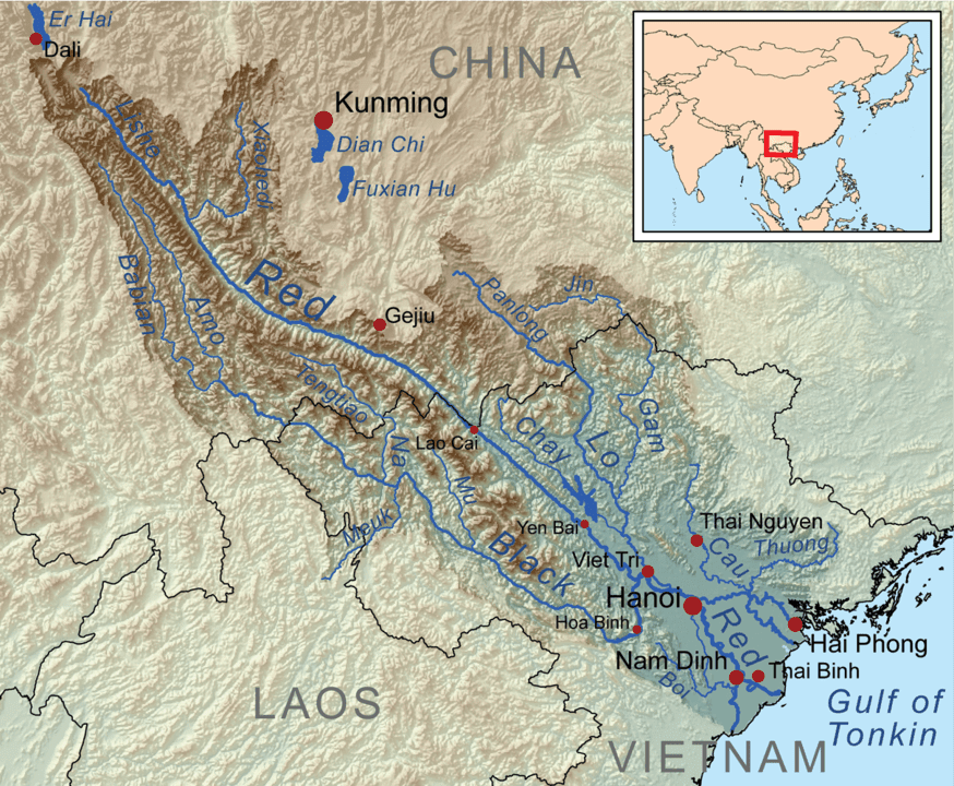 Map showing the Red River drainage basin