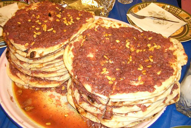 Taboon bread is a flatbread that is slightly chewy.