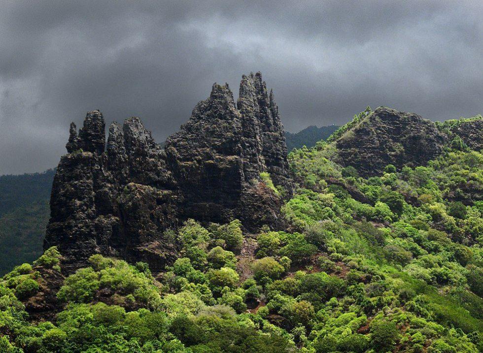 Basaltic rock formation in Hatiheu, Nuku Hiva island.
