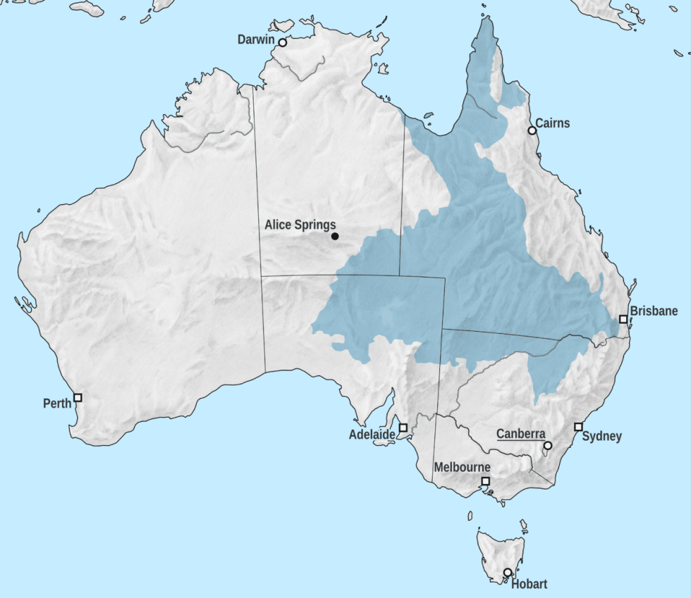 Map of the Great Artesian Basin in Australia