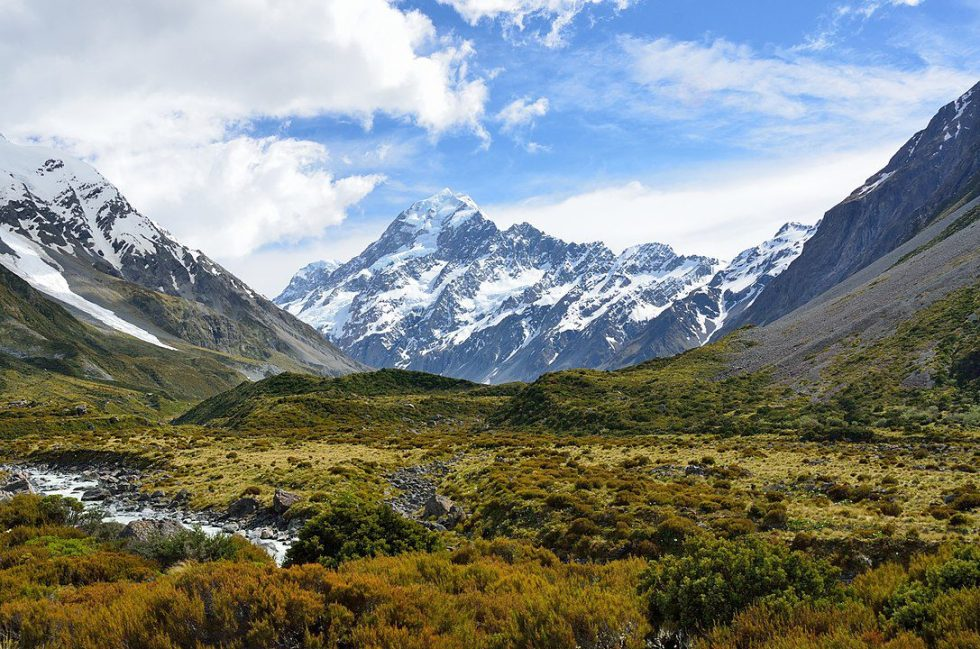 View of Mount Cook, the highest peak in the Southern Alps.
