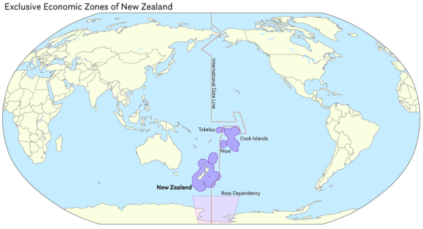 New Zealand's exclusive economic zone (EEZ) covers at least 4,083,744 square kilometers (1,576,742 sq mi), which is approximately 15 times the land area of the country.