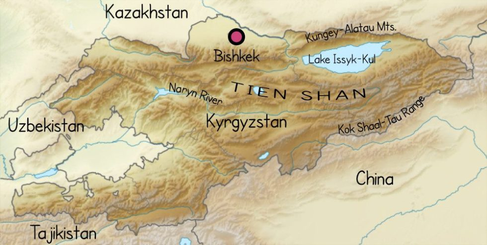 Relief map of Kyrgyzstan