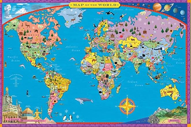 Laminated world map