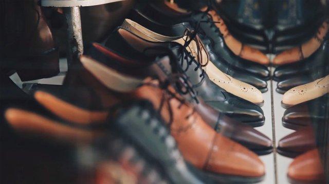 men's shoes on a shelf