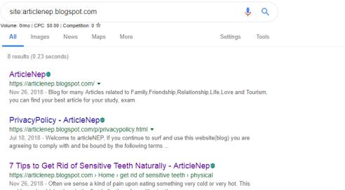 site check in Google