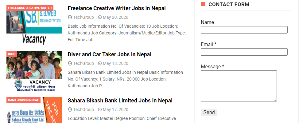 Contact form in sidebar