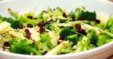 Lækker salat med tranebær, der vendes med broccoli, lidt spidskål, rødløg og æblebåde. Salaten tilsættes også lidt sprødstegte bacontern. Foto: Guffeliguf.dk.