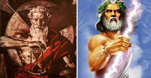 Deuses Cronos Saturno, e Zeus Júpiter