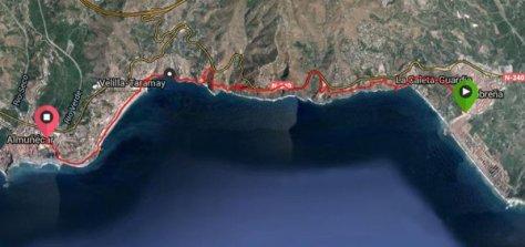 Inicio de la ruta en el Risco del pueblo, la playa y comienzo de la Vega en Salobreña.