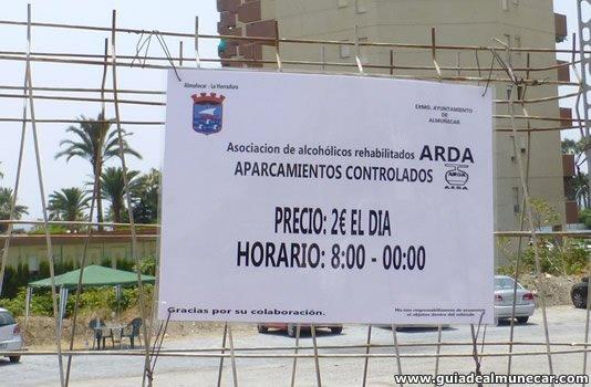Aparcamientos públicos en temporada de verano, Almuñécar.