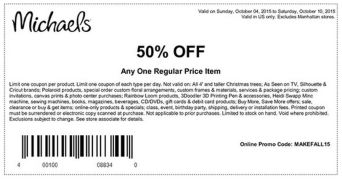 michaels store art & cafts.promotionOCTUBRE