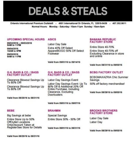 Deals Orlando International Premium Outlet Septiembre 01