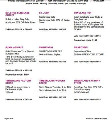 Deals Orlando International Premium Outlet Septiembre 08