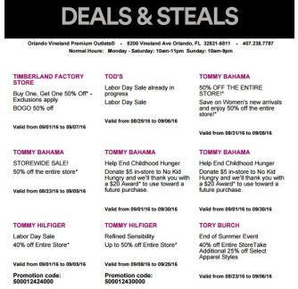Deals Orlando Vineland Premium Outlet septiembre 2016 8