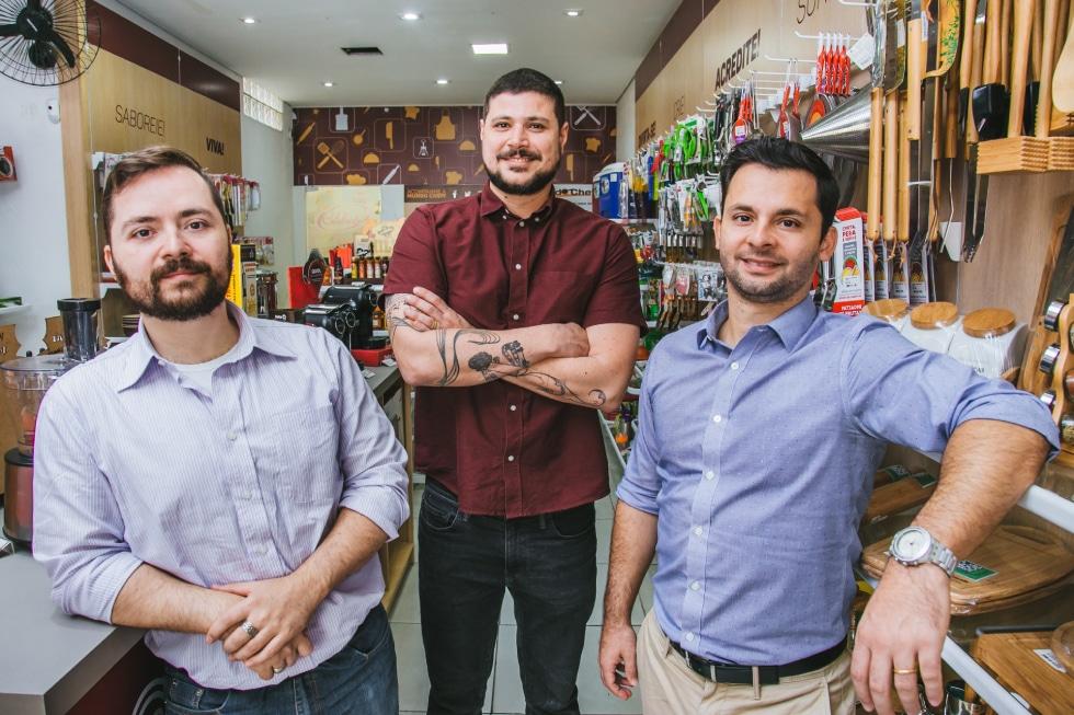 Ronaldo Chiavenato, Chef Raul Lemos e Rodrigo Chiavenato - Sócios da Mundo Cheff