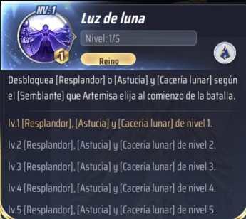 Habilidades de Artemisa, Saint Seiya Awakening KotZ, Luz de luna