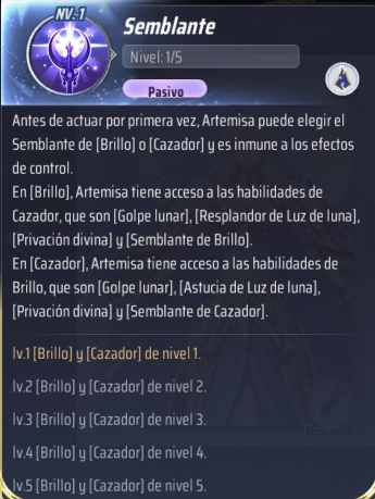 Habilidades de Artemisa, Saint Seiya Awakening KotZ, Semblante